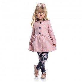 conjunto casaco moletom rosa e legging molecotton floral 1173