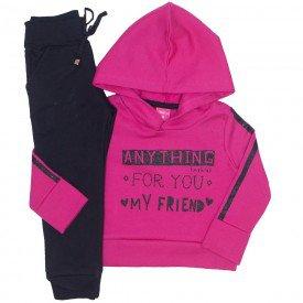 conjunto blusa moletom pink com capuz e jogger preta 1177