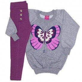 conjunto blusao mescla de moletinho glitter e legging cotton vinho 3663