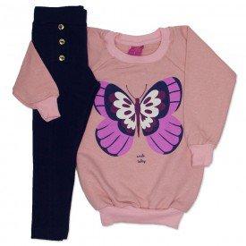 conjunto blusao de moletinho rosa glitter e legging cotton marinho 3663