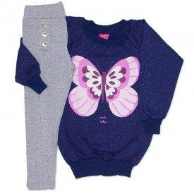 conjunto blusao marinho de moletinho glitter e legging cotton mescla 3663