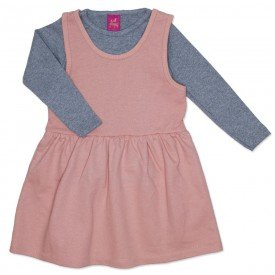 conjunto vestido salopete rosa de moletinho glitter e blusa mescla 3666