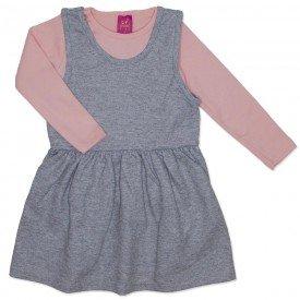 conjunto vestido salopete mescla de moletinho glitter e blusa rosa 3666