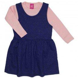 conjunto vestido salopete marinho de moletinho glitter e blusa rosa 3666