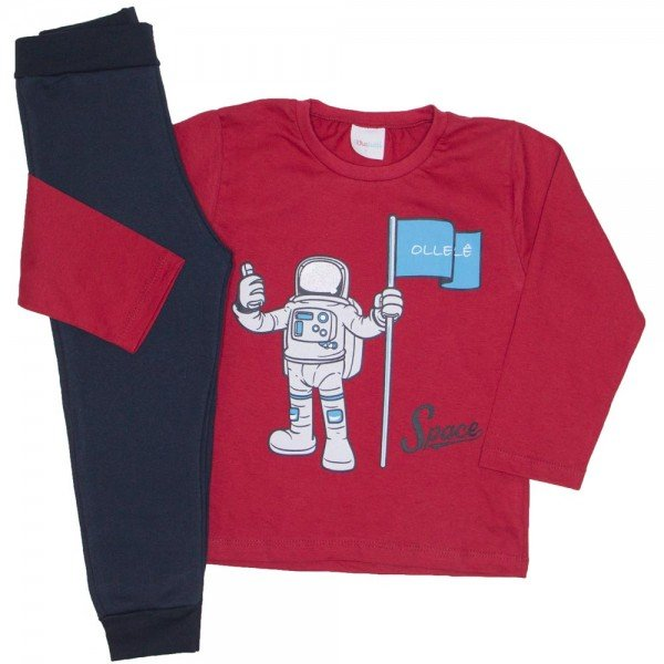 conjunto camiseta meia malha vermelha astronauta e calca moletom preta 16