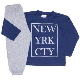 conjunto camiseta meia malha marinho new york e calca moletom cinza 10