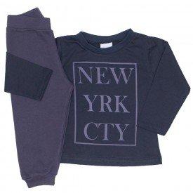 conjunto camiseta meia malha preta new york e calca moletom chumbo 10
