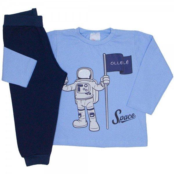 conjunto camiseta meia malha azul astronauta e calca moletom marinho 16