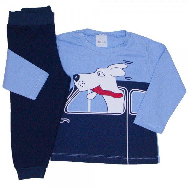 conjunto camiseta meia malha azul claro e calca moletom marinho 02