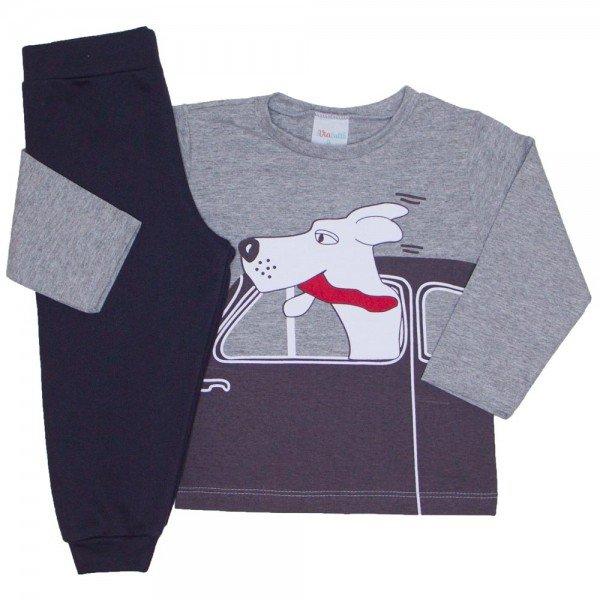conjunto camiseta meia malha mescla e calca moletom chumbo 02