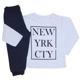 conjunto camiseta meia malha branca new york e calca moletom preta 10