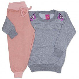 conjunto blusao moletinho mescla e calca moletinho glitter rosa 3664