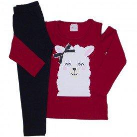 conjunto blusa vermelha lhama e legging cotton preta 17