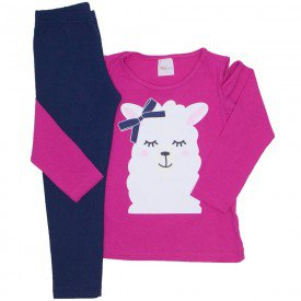 conjunto blusa pink lhama e legging cotton marinho 17