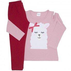 conjunto blusa rosa lhama e legging cotton vermelha 17