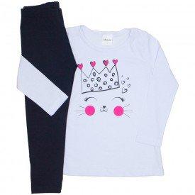 conjunto camiseta branca meia malha coroa e legging preta 24