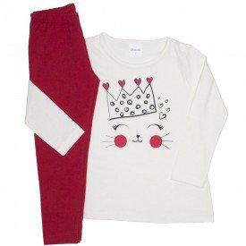 conjunto camiseta off white meia malha coroa e legging vermelha 24