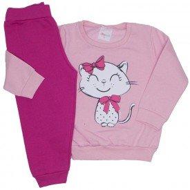 conjunto moletom rosa bebe gatinha e calca pink 09