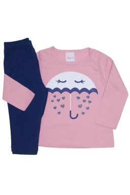 conjunto camiseta rosa meia malha chuva de amor e legging marinho 01
