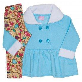 conjunto casaco de moletom azul e legging 4001