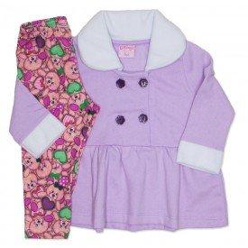 conjunto casaco de moletom lila s e legging 4001