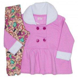 conjunto casaco de moletom rosa e legging 4001
