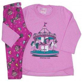 conjunto casaco de moletom rosa e legging estampada 4002