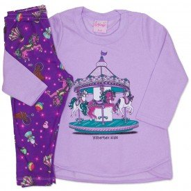 conjunto casaco de moletom lilas e legging estampada 4002