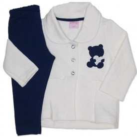 conjunto casaco de matelasse off white e legging marinho 4003