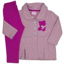 conjunto casaco de matelasse rosa e legging pink 4003