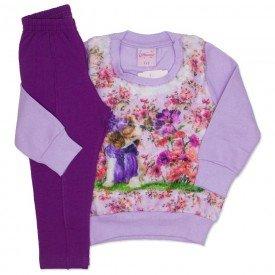 conjunto casaco de moletom lilas e legging 4004