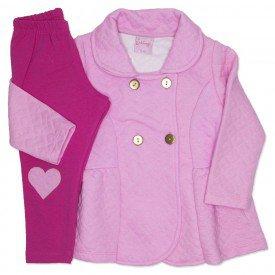 conjunto casaco de matelasse rosa e legging 4009
