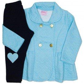 conjunto casaco de matelasse azul e legging 4009