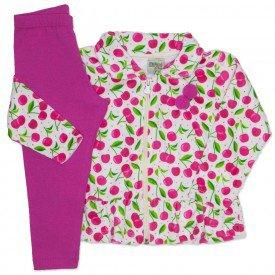 conjunto casaco plush estampado com legging em cotton pink 8096