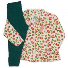 conjunto casaco plush estampado com legging em cotton coral 8096