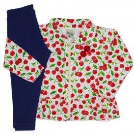 conjunto casaco plush estampado com legging em cotton vermelho 8096