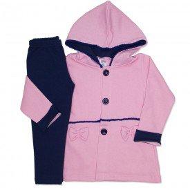 conjunto casaco capuz franja pom pom e botoes legging molecotton rosa 19048