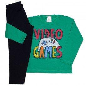 conjunto de moletom verde com calca preta video games 153041