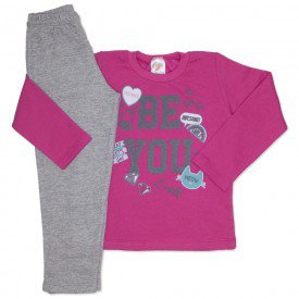 conjunto de moletom pink be you com calca mescla 154019