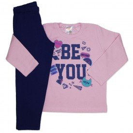 conjunto de moletom rosa be you com calca marinho 154019