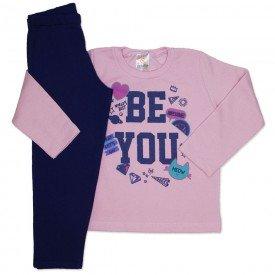 conjunto de moletom rosa be you com calca marinho 154019