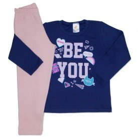 conjunto de moletom marinho be you com calca rosa 154019