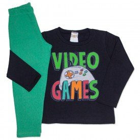 conjunto de moletom preto com calca verde video games 153041
