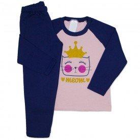 conjunto de moletom rosa bebe meow 154023