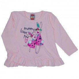 blusa cotton c babado coelhinho rosa 8092