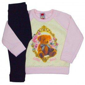 conjunto moletom rosa bebe c pelo legging mescla 2112