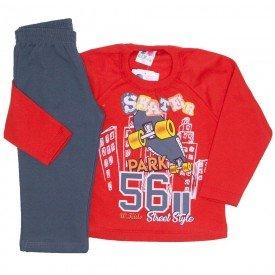 conjunto de moletom blusa vermelha e calca chumbo 367