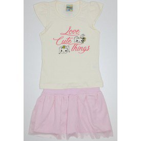 conjunto de cotton off rosa claro com saia em tule did 7558 off 01