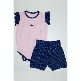 conjunto body com manga franzido rosa medio e shorts com estampa qui 1080025 rom 01