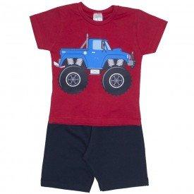 conjunto camiseta vermelha truck e bermuda preta 1138